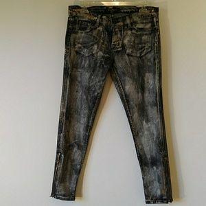 David Kahn Nikki Ankle Dirty Black + Gold Jeans 29